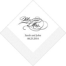 100 Mr and Mrs Script Printed Wedding Cocktail Napkins