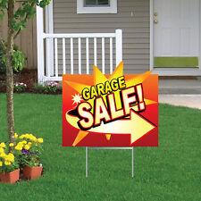 """Die Cut Garage Sale Yard Sign 18""""x24"""" & 2 EZ Stakes for Display"""