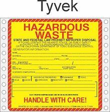 Hazardous Waste California Tyvek Labels HWL175T (PACK OF 500)