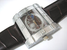 Silver Tone Metal Big Case Brown Leather Band Men's Watch Item 4370