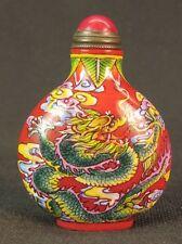 Chinese Dragon Phoenix Hand Painted Peking Enamel Glass Snuff Bottle