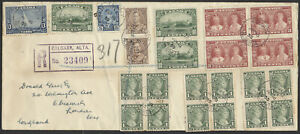 1935 Calgary Alta To London England, Silver Jubilee Set on Registered Cover