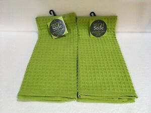 Lot of 2  RITZ TECH STYLE WAFFLE MICROFIBER DISH TOWELS LINT FREE QUICK DRY