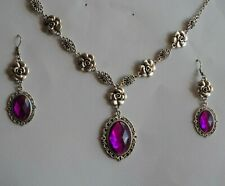 CAMELLIA FILIGREE VICTORIAN STYLE MAGENTA PURPLE SILVER PLATED NECKLACE SET CFS