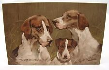 KING QUEEN & A KNAVE GEORGE WRIGHT FOXHOUNDS ART ANTIQUE POSTCARD PRE-WW1*