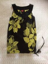 Delightful MONSOON 100% Silk Floral Tunic Top-size 10. Hardly Worn Black/ Green