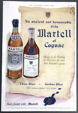 MARTELL COGNAC - Vintage Advert (30 May 1953) Three Star & Cordon Bleu *