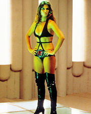 CAROLINE MUNRO 8X10 PHOTO BLACK LEATHER HIGH HEEL BOOTS BRA BUSTY SEXY STARCRASH