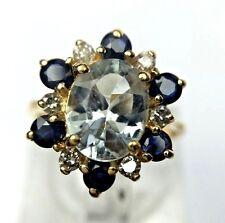 Vintage 14K Yellow Gold 1.50ct Natural Aquamarine Sapphire Diamond Halo Ring