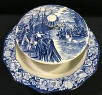 Staffordshire Liberty Blue Round Covered Vegetable Bowl Boston Tea Party England