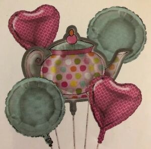 +Teapot Balloon Cluster 5 Balloons Birthday Party Pink Mint Dots Cupcake