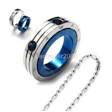 Puzzle Blue & Silver Stainless Steel Zodiac Ring Love Pendant Necklace Gifts