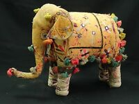"LARGE ANTIQUE EARLY 20 c INDIA CEREMONIAL STUFFED ADORNED FABRIC ELEPHANT ~ 26"""
