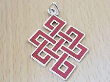 TIBETAN BUDDHIST HIPPY ENDLESS KNOT LOCKET & Jewellery Pouch Coral PENDANT
