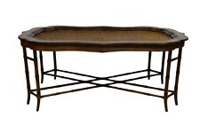 Maitland Smith Rattan & Leather Bamboo Coffee Table Orig. $3200