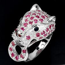 Großer Ring Panther Rubin Saphir blau 925 Silber 585 Weißgold Gr. 55