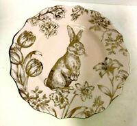 222 Fifth Bunny Hill Salad Dessert Pink & Gold Single Plate
