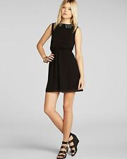 BCBGeneration Sequin Scallop Peter Pan Collar Chiffon Dress Black S