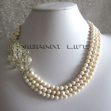 """18-20""""5-7mm 3 Row White Freshwater Pearl Strand Necklace X2327 Fashion JewelryUE"""