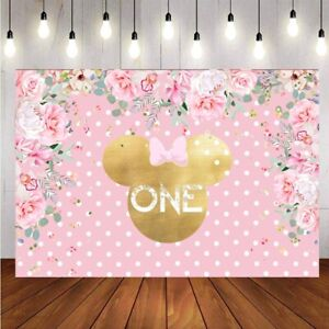 Minnie Mouse 1st Bithday Backdrop Flower Baby Shower Party Pink Photo Background