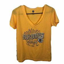 NHL Womens Boston Bruins Shirt Size L 11/13 Yellow Black V Neck