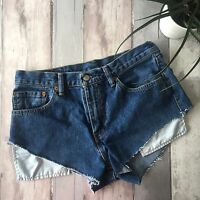 "VINTAGE LEVI BLUE DENIM SHORTS SIZE 12 10 W30"" HIGH WAIST CUT OFFS MOM #4"