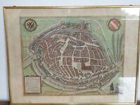 Alsace très rare ancienne CARTE GEOGRAPHIQUE de Strasbourg Argentoratum 1572