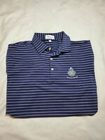 Peter Millar Summer Comfort Men golf Polo shirt LARGE Navy Blue gray Striped