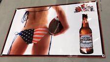 Budweiser beer poster football american flag bikini girl banner bottle cap NFL