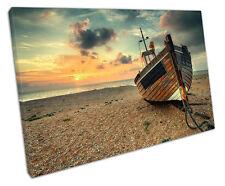 Barco de pesca en la playa de adoquines LONA pared arte Foto Grande 75 X 50 Cm