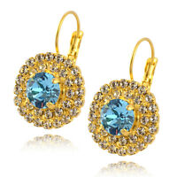 Nara Round Crystal Earrings, Gold Plated Drop with 3 Layers of Swarovski