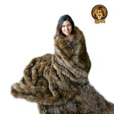 Plush Faux Fur Throw Blanket Brown Lynx Minky Cuddle Fur Lining 5' x 6'