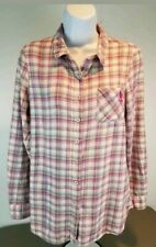 US POLO ASSN Womens Size Large Long Sleeve Button-Up Plaid Shirt Top Cotton