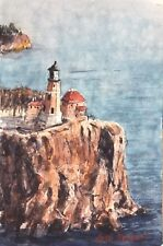 """Lighthouse On The Cliff  Watercolor Painting Art Original 6"""" x 9"""" NOT A PRINT"""