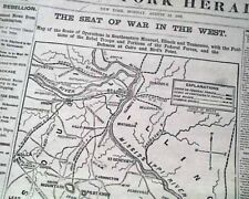 Large MAP of Western Seat of the CIVIL WAR Battle of Dug Springs 1861 Newspaper