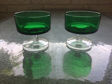 Vintage 1950's Made In France Clear Glass Stem Green Wine/Custard Glass Set
