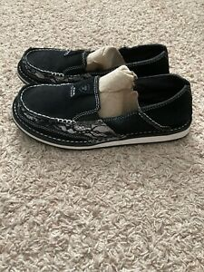 Ariat Black Casual Slip On White Print Shoes. Size 9B. #10021753