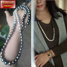 AAA9-10 mm round  natural  South Sea  Multi-Color  pearl necklace 24 inch silver