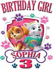 PERSONALIZED PAW PATROL Skye & Everest BIRTHDAY SHIRT ADD NAME & AGE FOR FAMILY