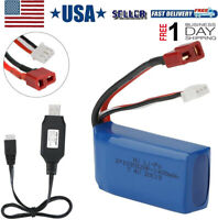 1400mAh Lipo Battery 7.4V 2S With USB Charger For WLtoys 4WD RC Cars A959-B