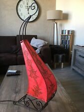 Lampe Marocaine Fer Forgé Peau Orientale Lustre Lanterne Applique Rose 77 cm