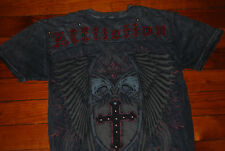 Men's Affliction Studded Cross & Shield Muscle Fit T-Shirt (Medium)