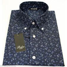 Camicie casual e maglie da uomo Blu Floreale Aderente