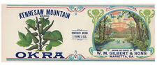 """NOS Vintage 1920's Kennesaw Mountain Brand CAN LABEL 11 1/4""""x4 ¼"""" Georgia Okra"""