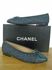 CHANEL Classic CC Tweed Leather Ballerina Ballet Flats Shoes sz 38.5 IT NIB