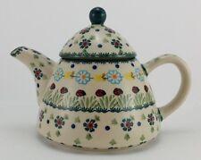 Bunzlauer Keramik Teekanne spitz, Kanne für 0,9Ltr. Tee Marienkäfer (C005-IF45)