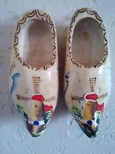 Pair of hand painted wooden shoes from Holland