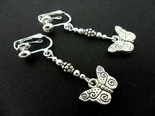Silver Butterfly Clip On Earrings. A Pair Of Cute Little Tibetan