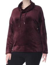 Calvin Klein NWT Velour Sweatshirt Purple Size Medium Cowl-Neck Pullover LL179