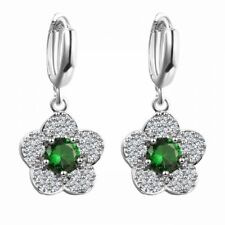 18K WHITE GOLD PLATED EMERALD GREEN/CLEAR CUBIC ZIRCONIA DANGLE FLOWER EARRINGS